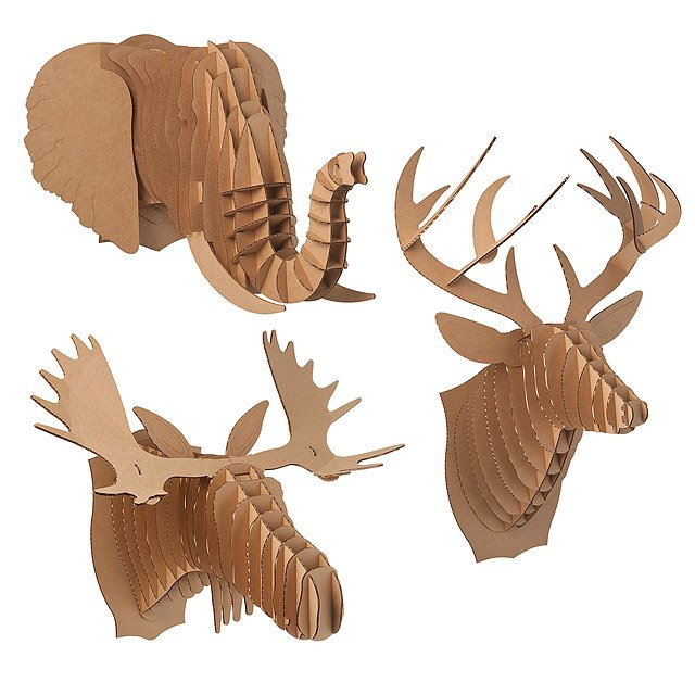Cardboard animal heads paper deer moose elephant uncommongoods cardboard animal heads maxwellsz