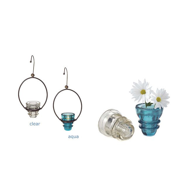 Recycled Insulator Lanterns & Bud Vases