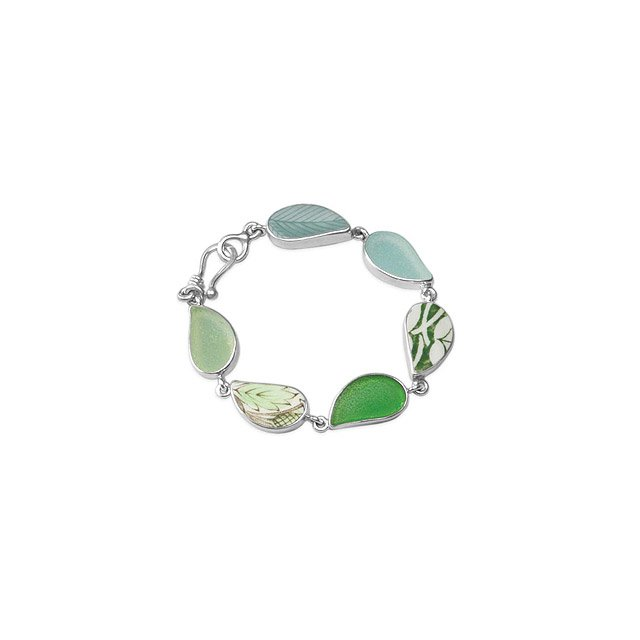 Sea Glass & Vintage China Leaf Bracelet
