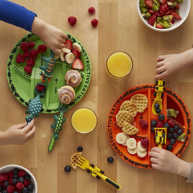 Construction Plate Utensils Kids Dinnerware Sets Uncommon Goods