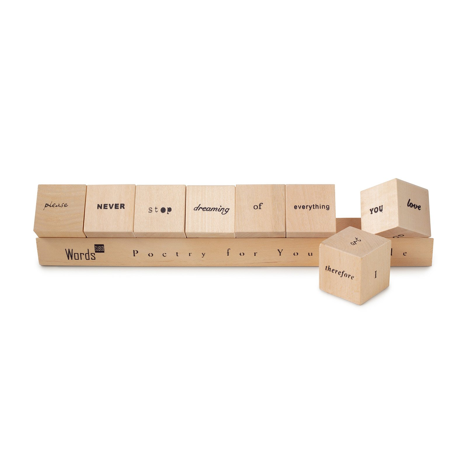 Words cubed poetry for your table wooden blocks uncommongoods words cubed 1 thumbnail gamestrikefo Choice Image