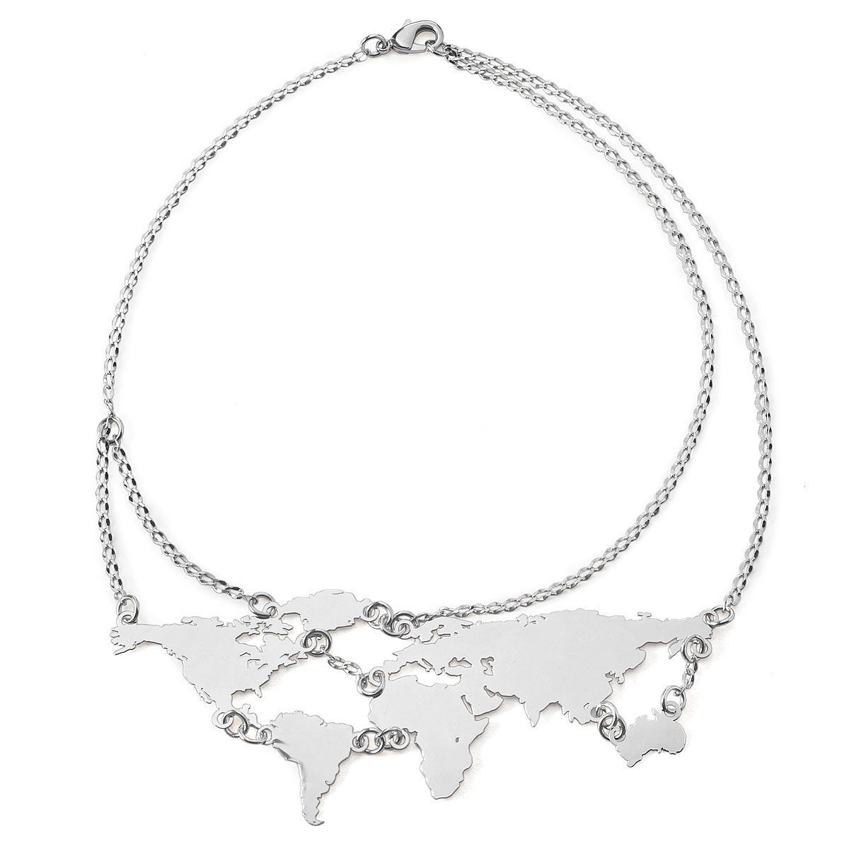 World Links Necklace Silver Silver World Map Jewelry - Chicago map necklace