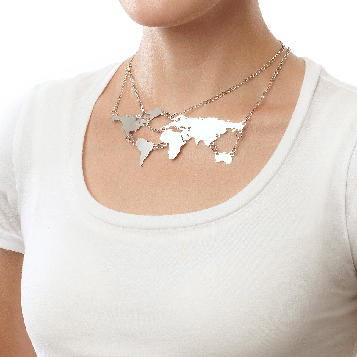 World links necklace silver silver world map jewelry uncommongoods world links necklace silver 2 thumbnail gumiabroncs Choice Image