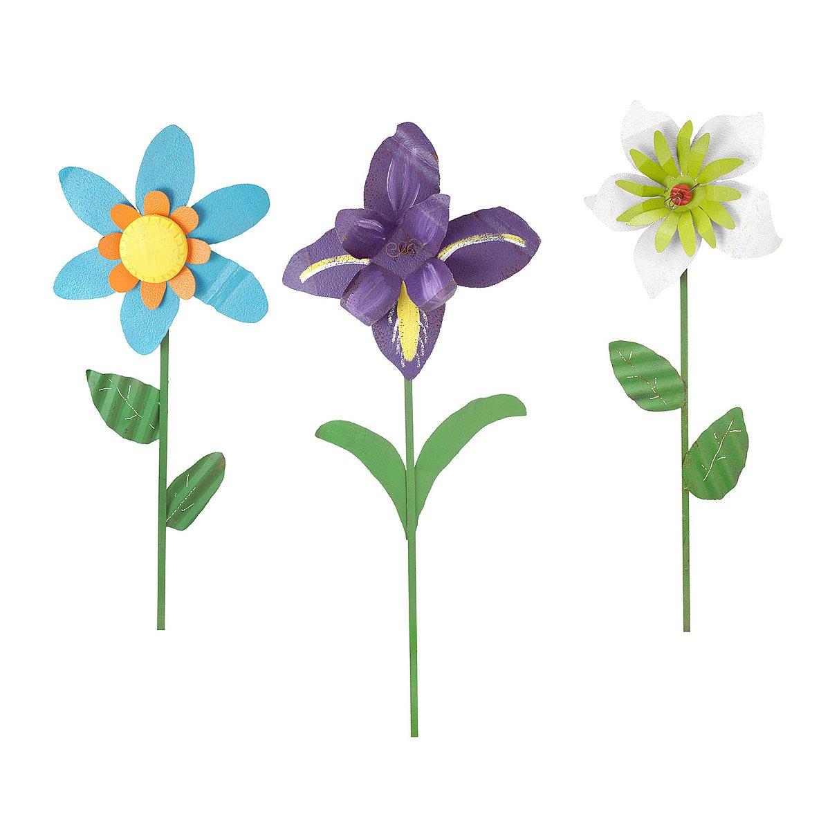 Oversized Tin Flowers Iris Lily Daisy Metal Garden Art