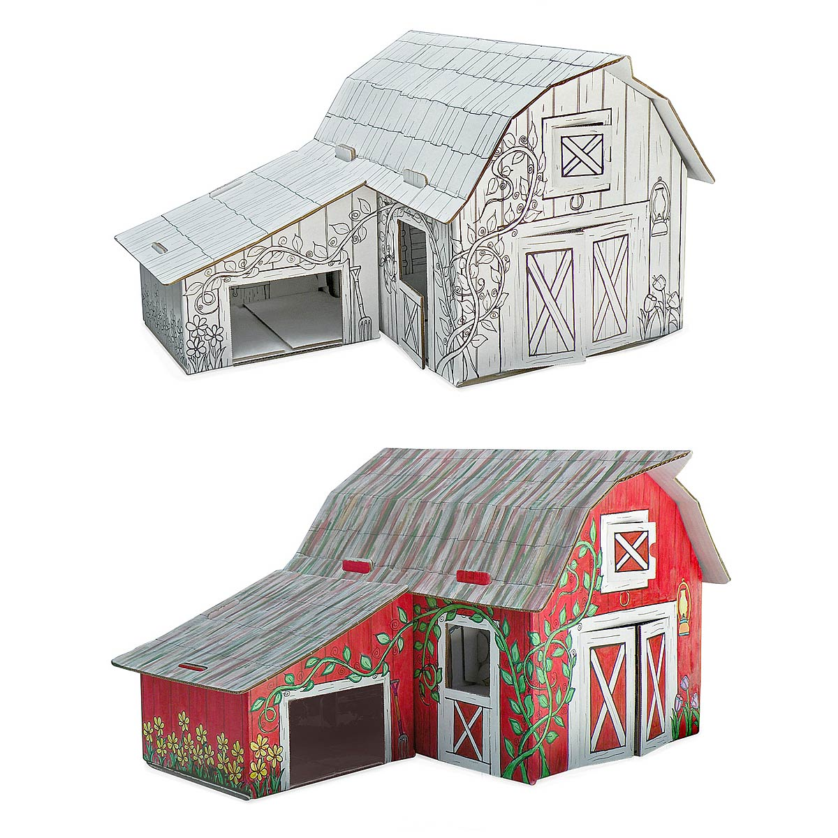 color your own cardboard barn kids farm play uncommongoods