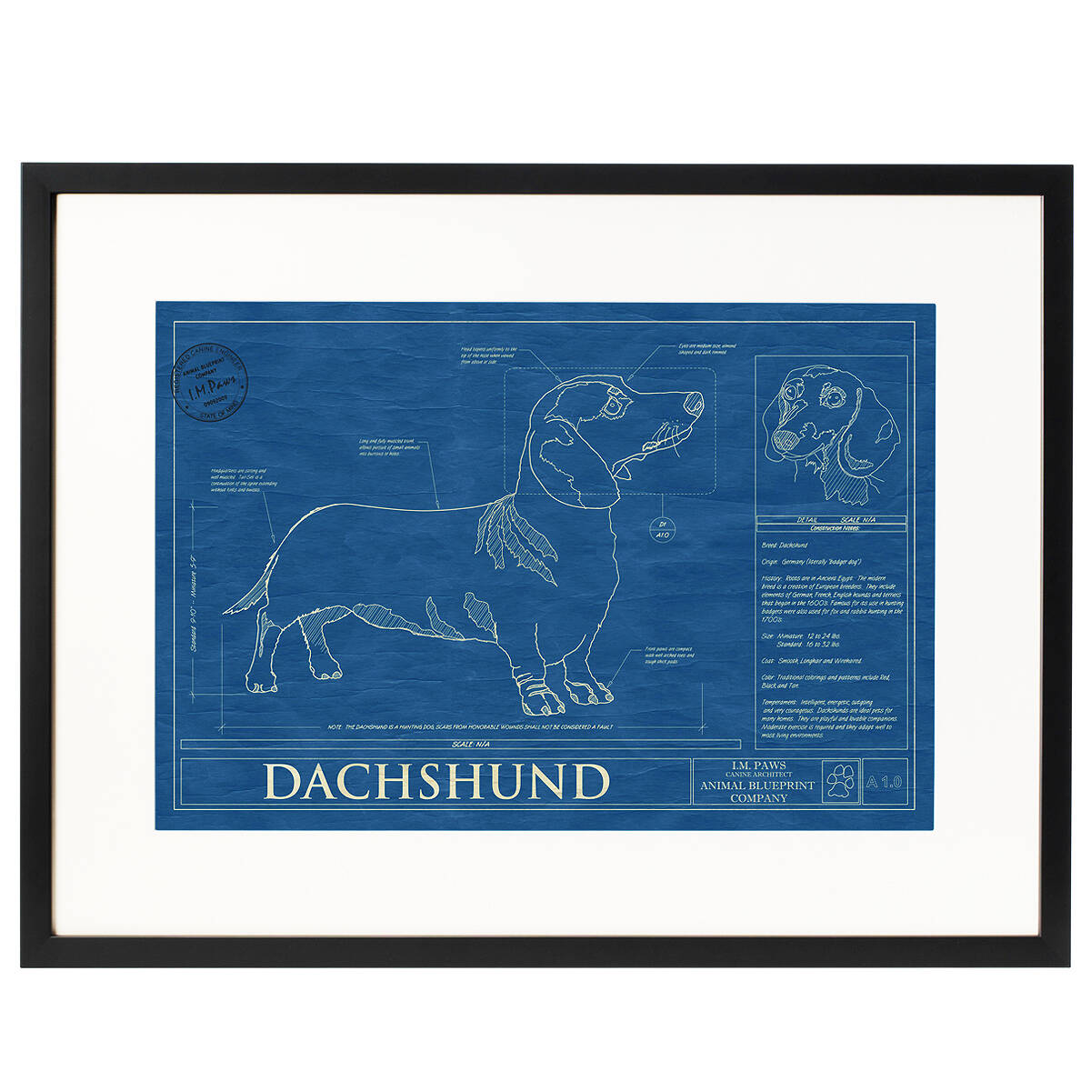 Dog blueprints framed wall art dog breeds uncommongoods dog blueprints 2 thumbnail malvernweather Image collections