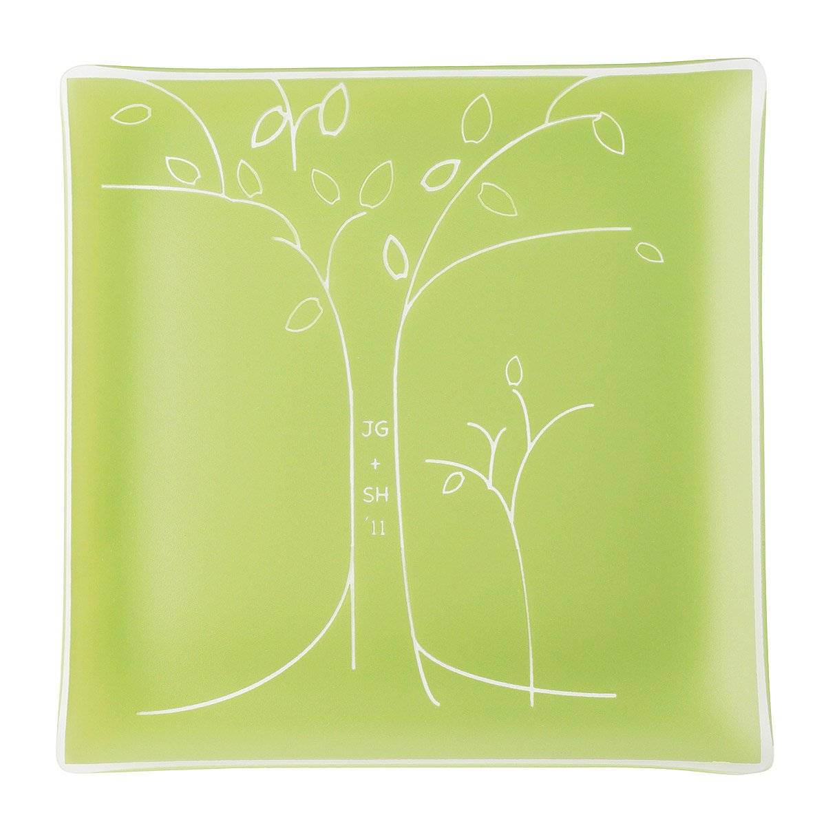 personalized tree anniversary plate engraved square plate