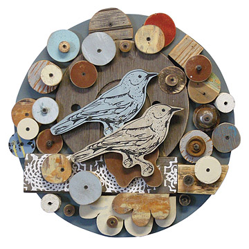 Circular Songbirds Found Object Art