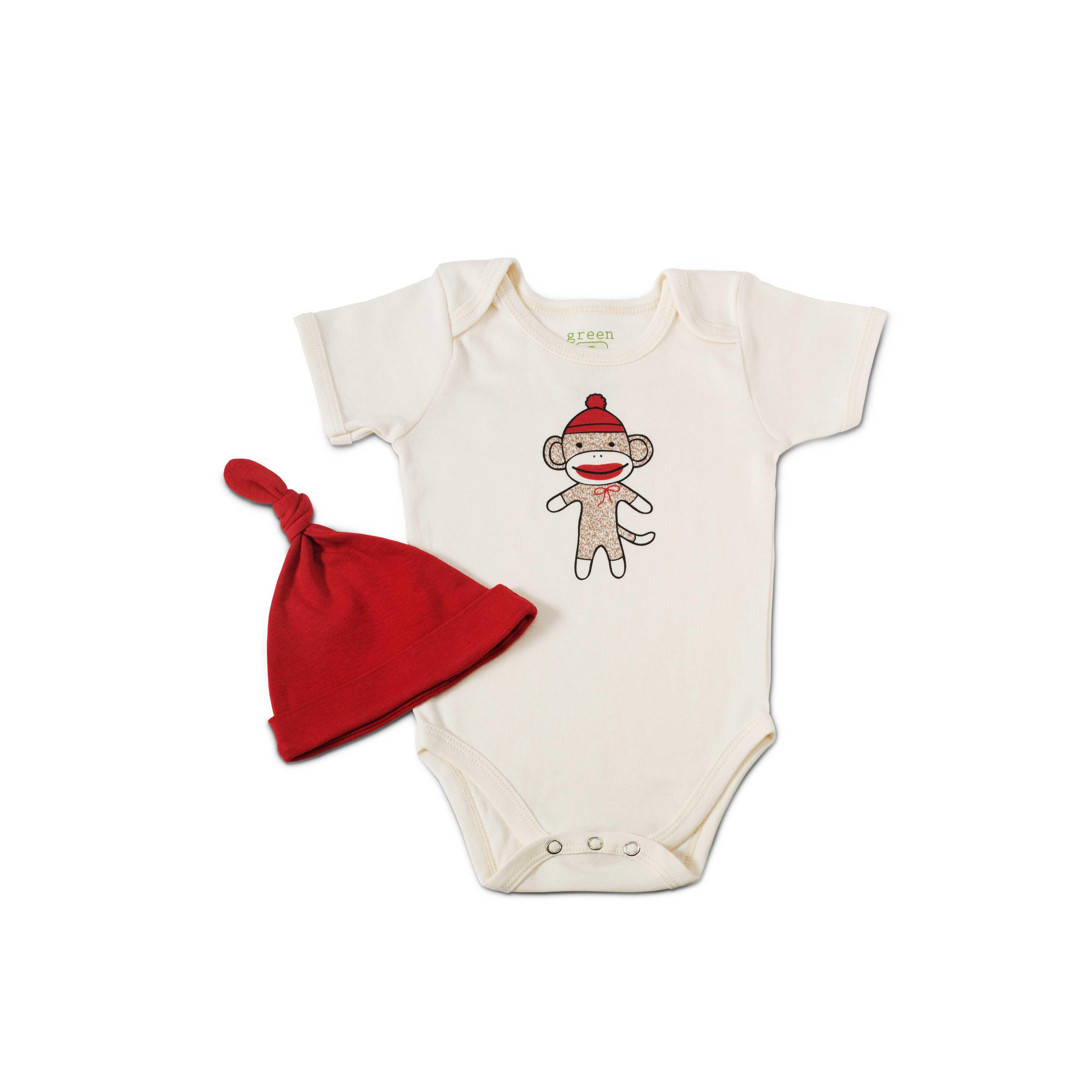 Sock Monkey Babysuit with Hat