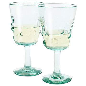 Recycled Glass Wine Goblets