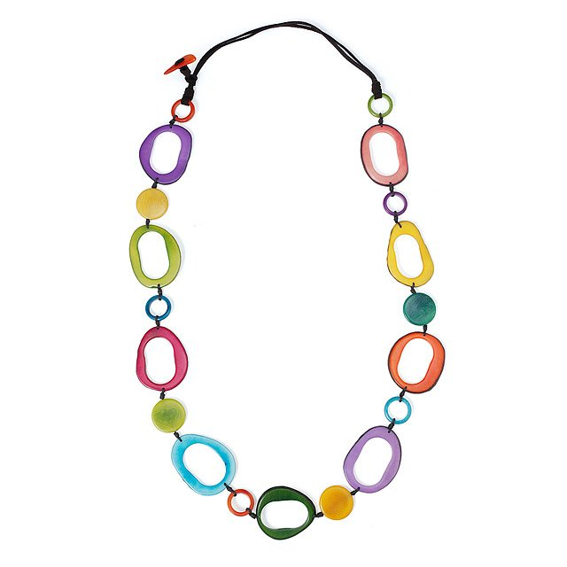 Multi-Color Open Circle Tagua Necklace