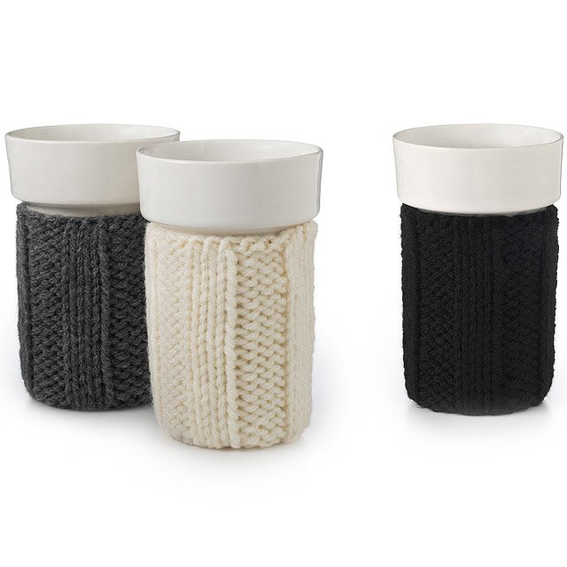 Porcelain Cup with Ribbed Knit Cozy