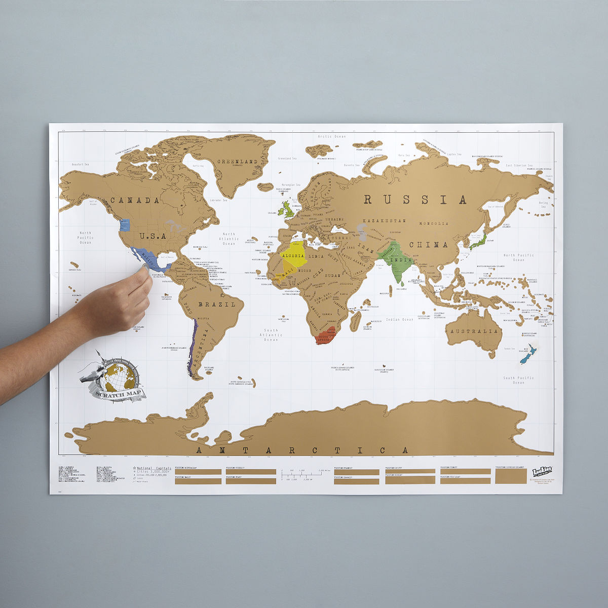 Scratch Map Scratch Off World World Poster UncommonGoods - Framed scratch world map