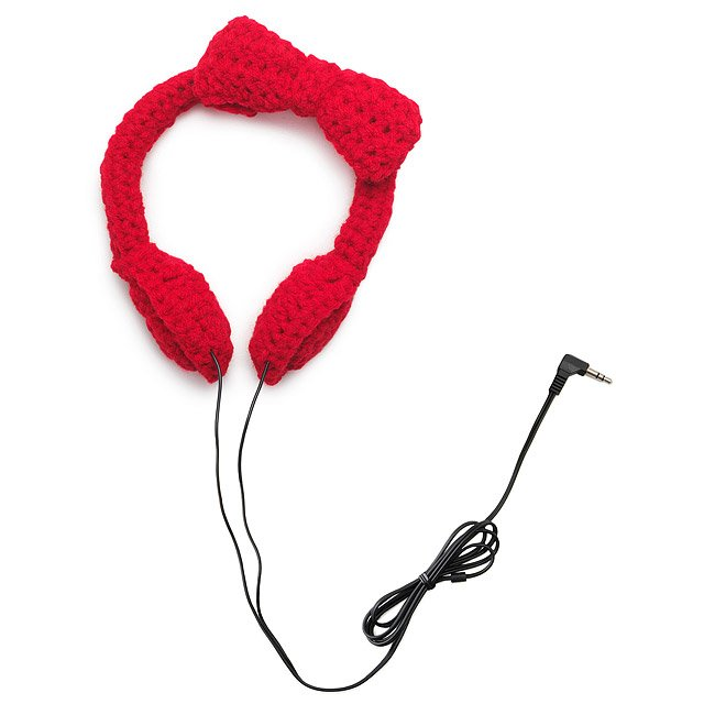 Crocheted Bow Headphones