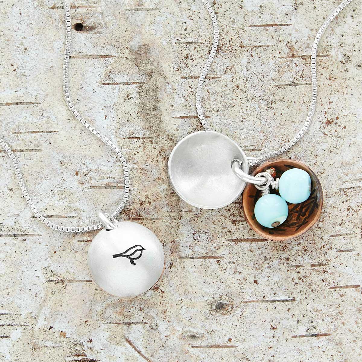 Nest egg necklace mother bird grandmother sentimental jewelry nest egg necklace mozeypictures Images
