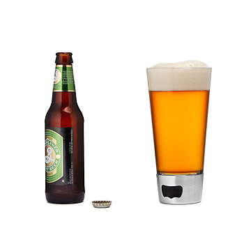 Beer Gifts for Him - Beer Glass with Built In Bottle Opener