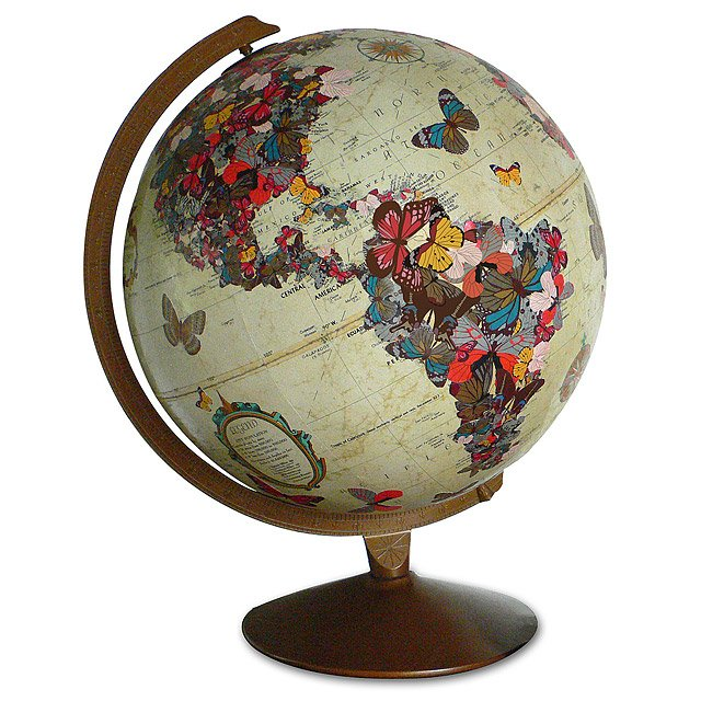 Butterfly Globe Sculpture Geography World Map Wendy Gold Art