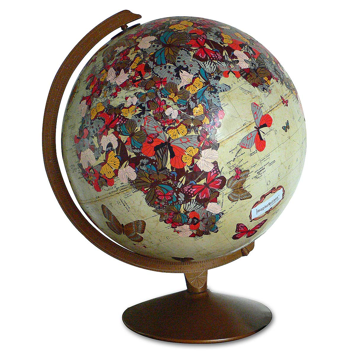 Butterfly globe sculpture geography world map wendy gold butterfly globe 2 thumbnail gumiabroncs Gallery