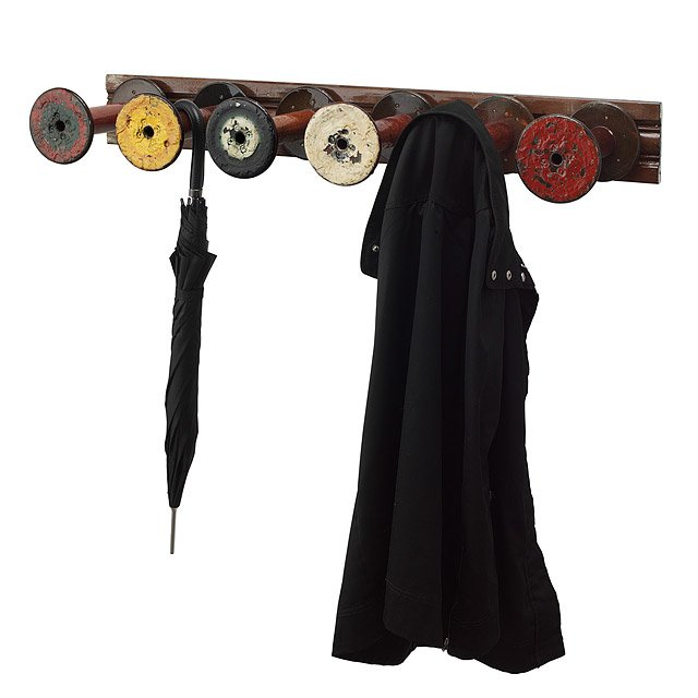 Reclaimed Textile Spool Coat Rack