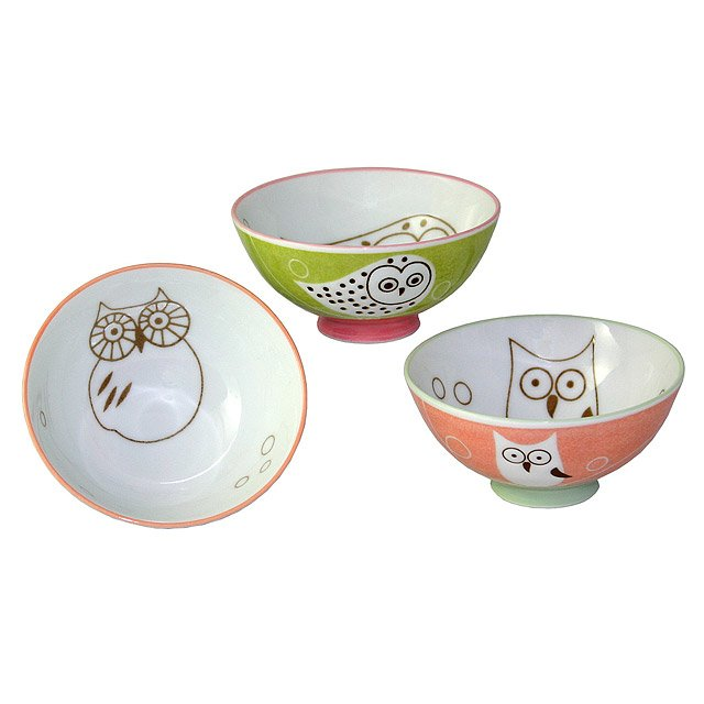 Owl Bowls - Set of 3  sc 1 st  UncommonGoods & Owl Bowls - Set of 3 | Ceramic Bowls Bird Illustrations Playful ...
