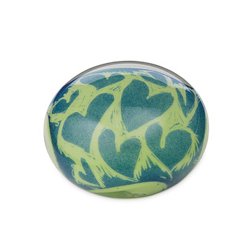 Green and Blue Heart Paperweight