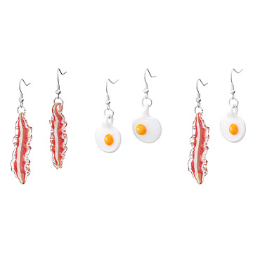 Glass Bacon and Egg Earrings