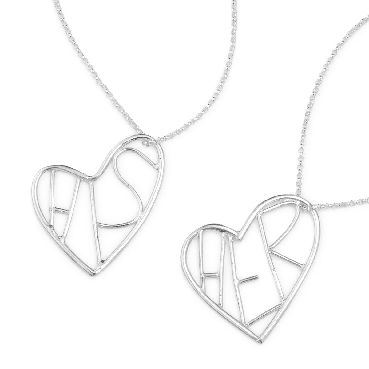His and Her Heart Necklaces | Kiel Mead, Sterling Silver Jewelry ...