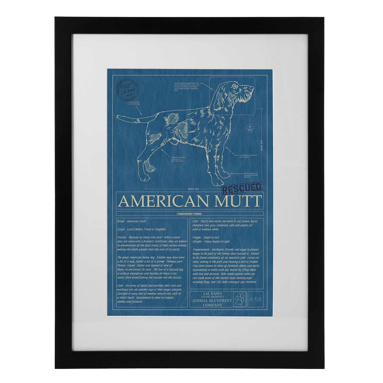 Mutt blueprint mutt dog wall art animal wall art pet art mutt blueprint 1 thumbnail malvernweather