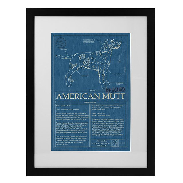 Mutt blueprint mutt dog wall art animal wall art pet art im mutt blueprint malvernweather Images