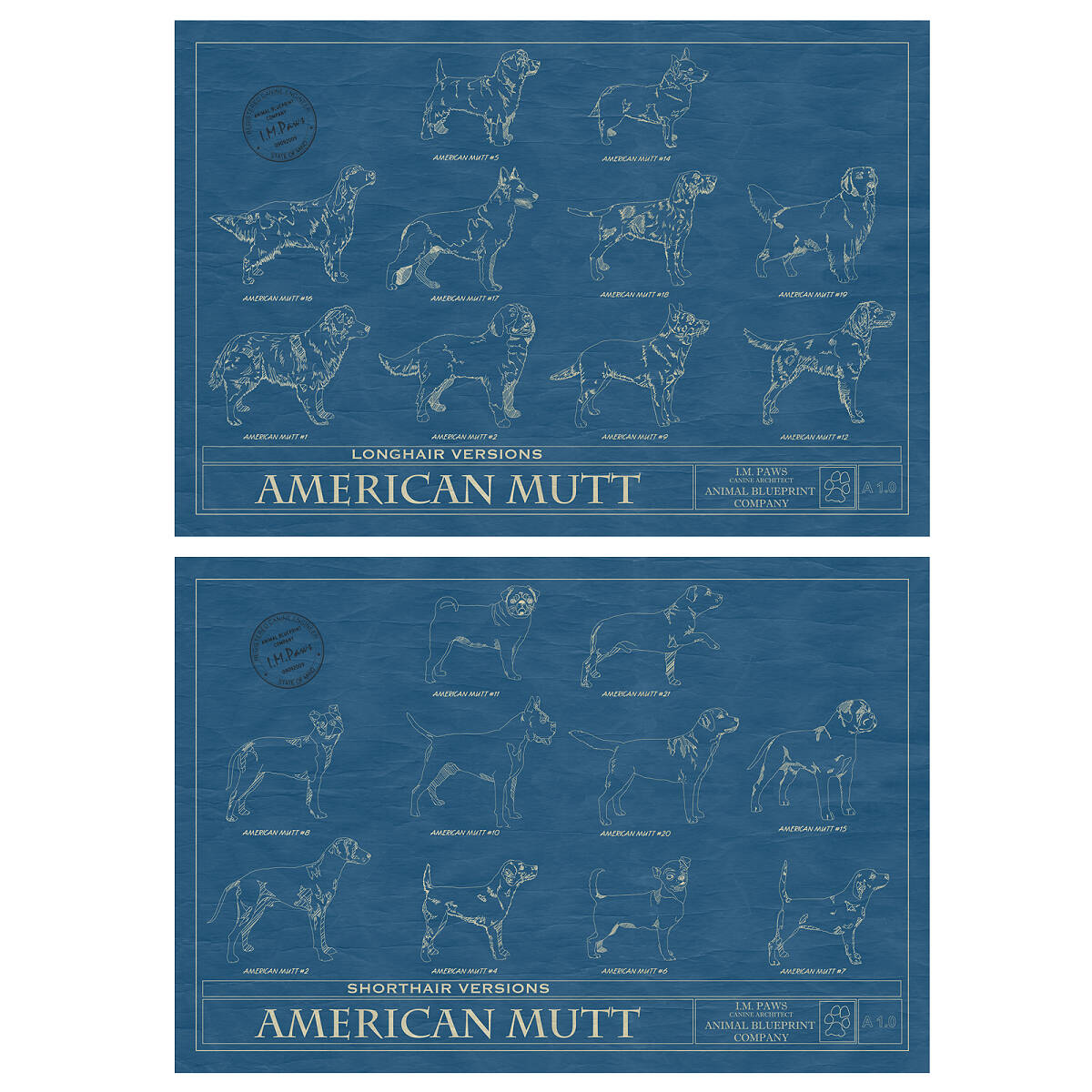 Mutt blueprint mutt dog wall art animal wall art pet art mutt blueprint 2 thumbnail malvernweather Choice Image
