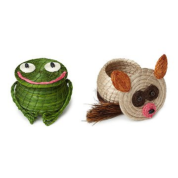 Hand-Woven Frog and Bush Baby Baskets
