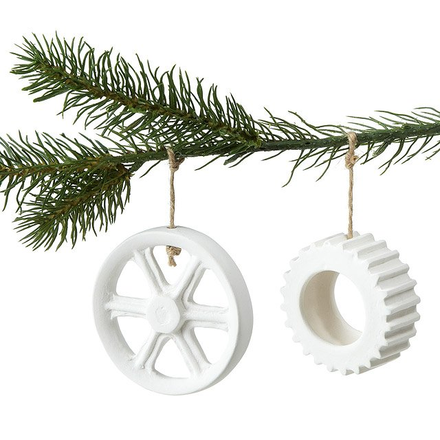 Porcelain Wheel and Cog Ornaments