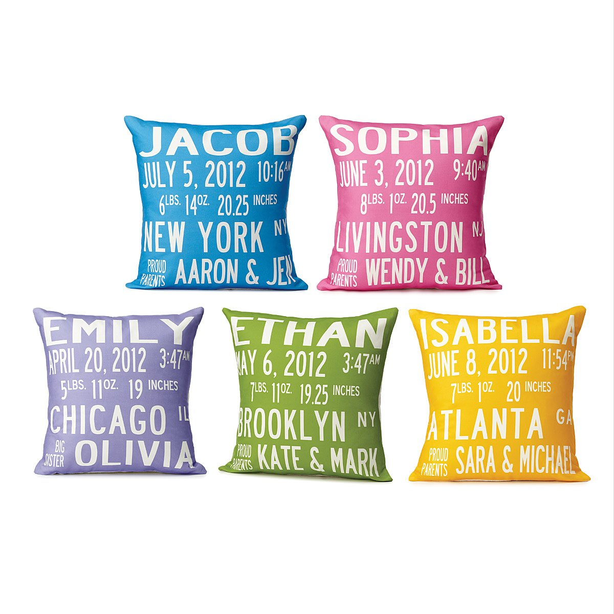 Birth announcement pillows personalized throw cushion uncommongoods birth announcement pillows 2 thumbnail negle Images