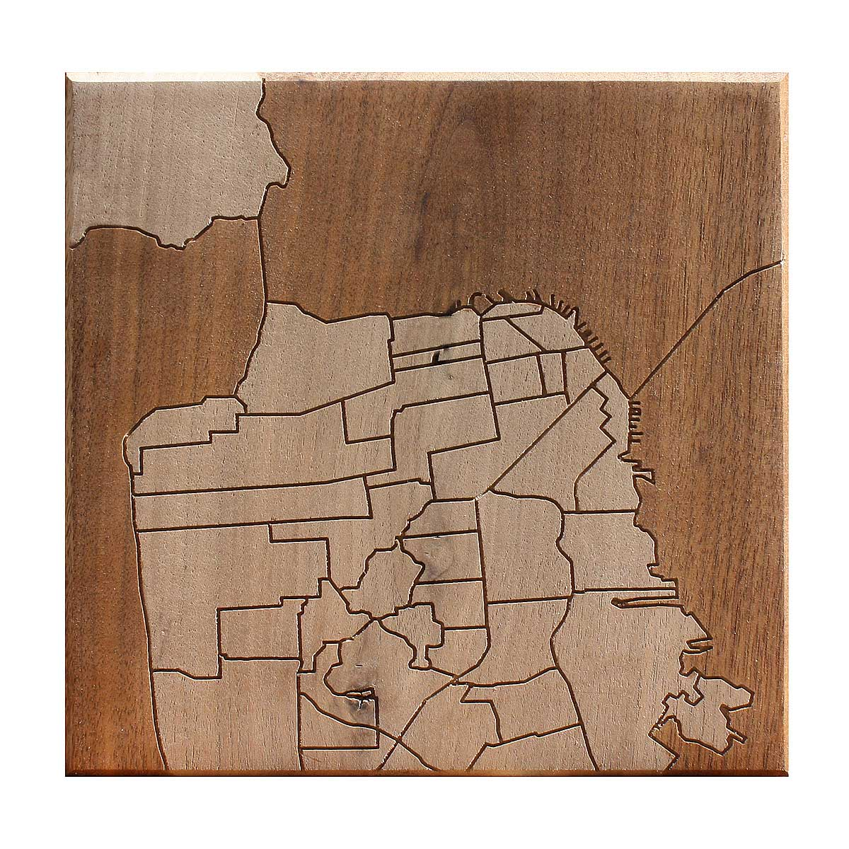 San Francisco Neighborhood Map Wooden Routing 1 Thumbnail