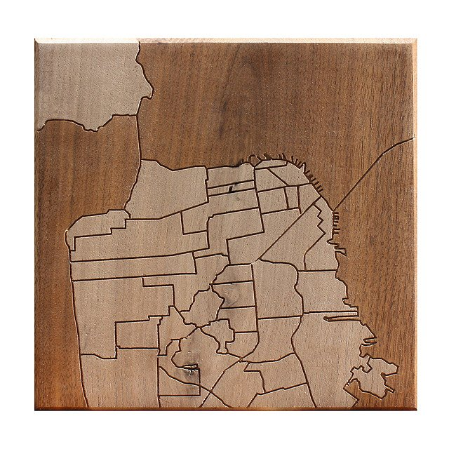 San Francisco Neighborhood Map Wooden Routing
