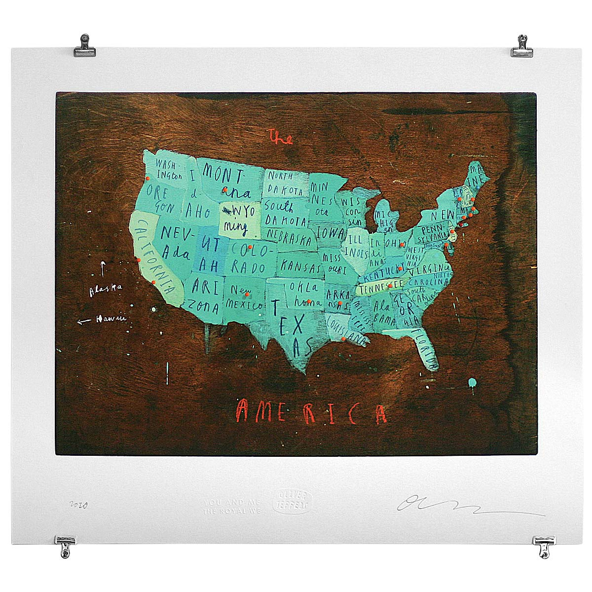 Places In America Map Artwork Illustration Typography Travel - Us brown map with states