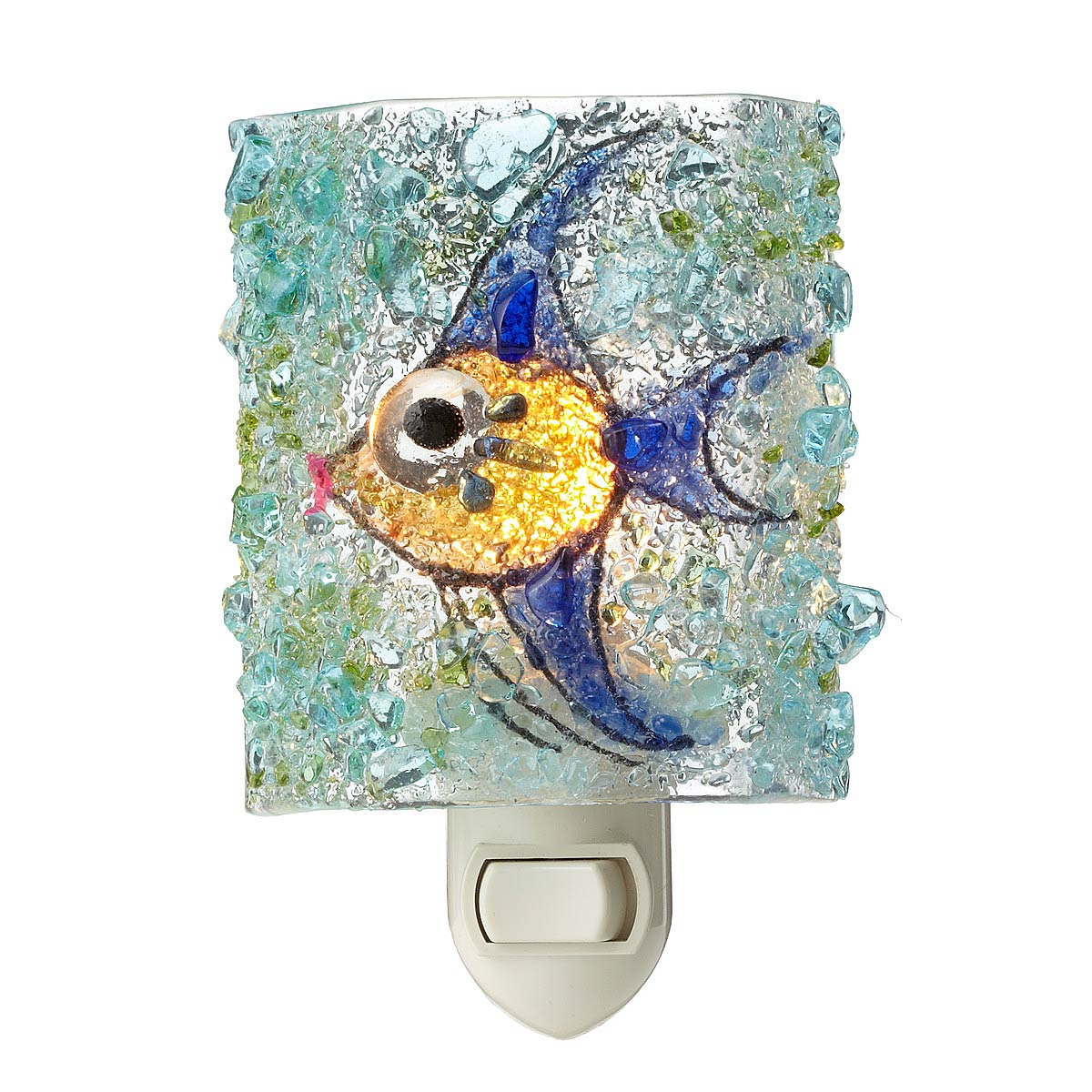 Bathroom Fish Decor Recycled Glass Angel Fish Night Light Children Bedroom Beach