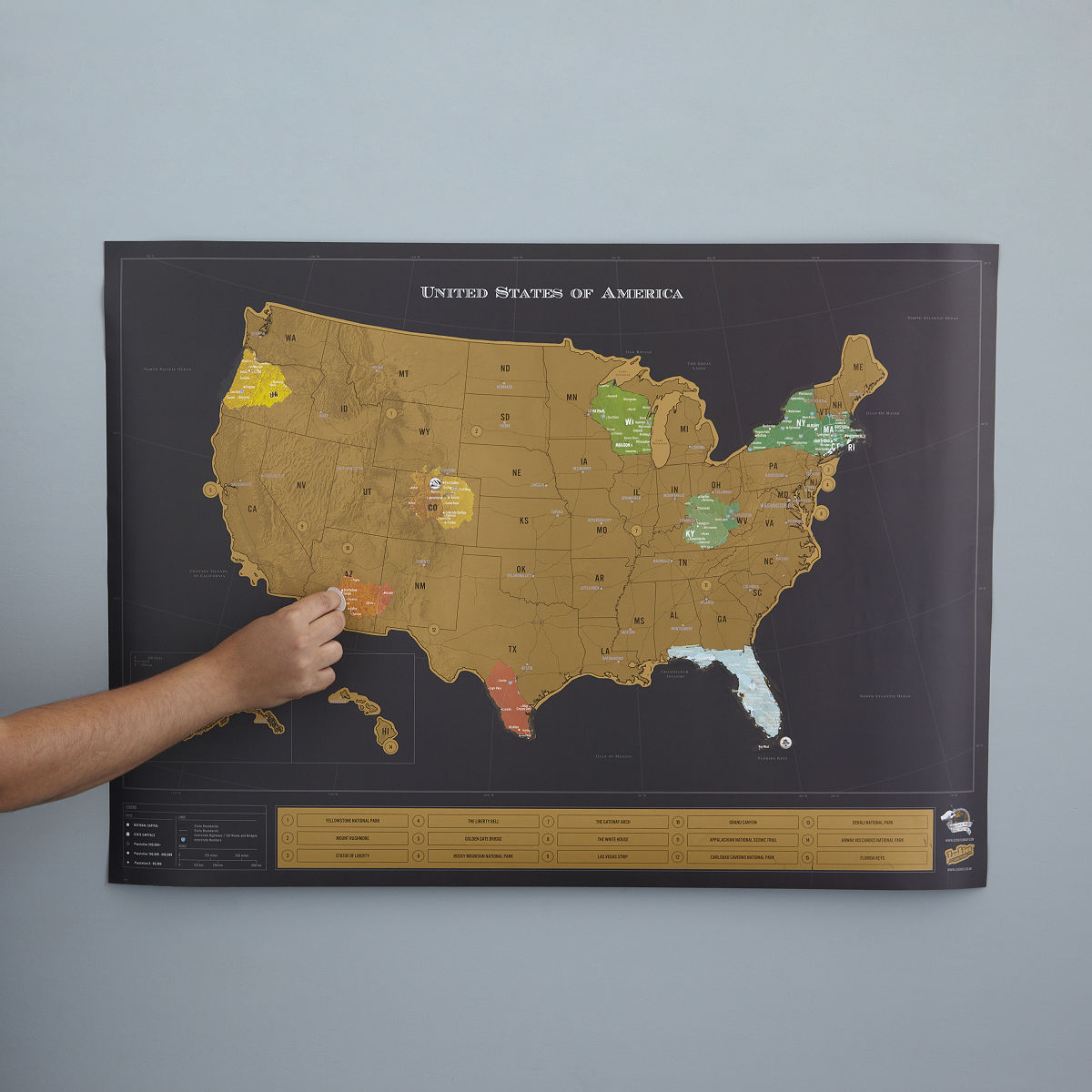 Scratch Map Scratch Off World World Poster UncommonGoods - Us travel map push pin