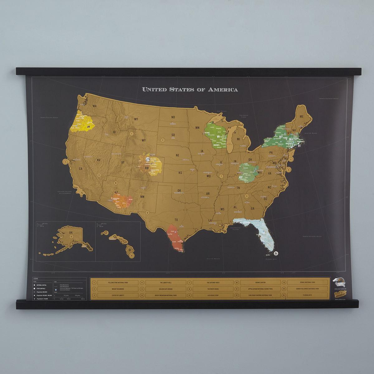 Usa scratch map interactive travel chart uncommongoods art gumiabroncs Choice Image