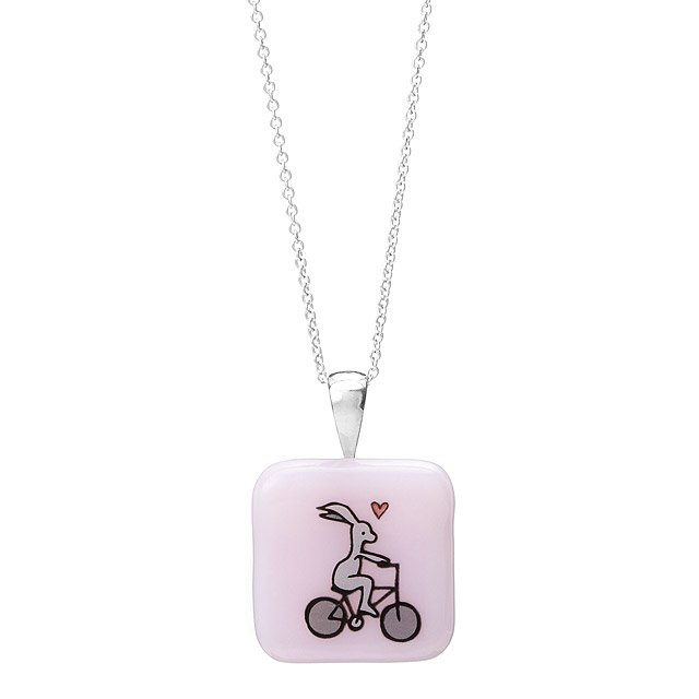Bunny-on-Bike Glass Pendant