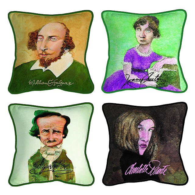 Decorative Literary Caricature Pillows