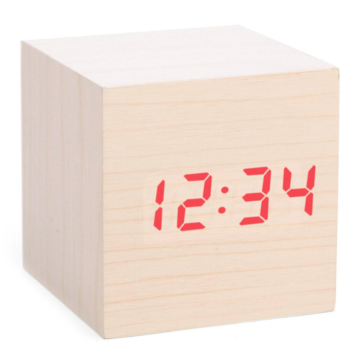 cube led alarm clock  wood block digital clock  uncommongoods - cube led alarm clock  thumbnail