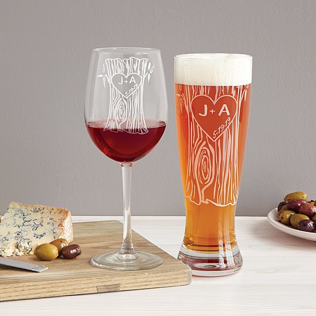 222899da3bf Personalized Tree Trunk Glassware Duo | etched, custom pint glass ...