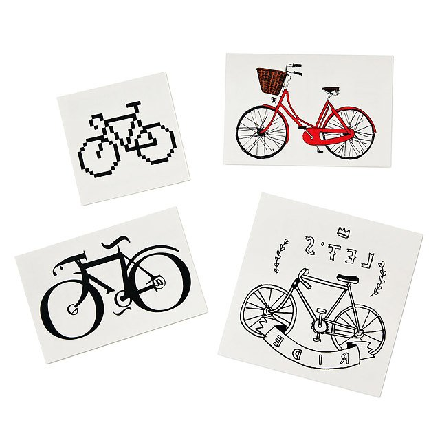 Bikes Temporary Tattoos - Set of 4
