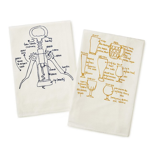 Wine and Beer Tea Towels - Set of 2