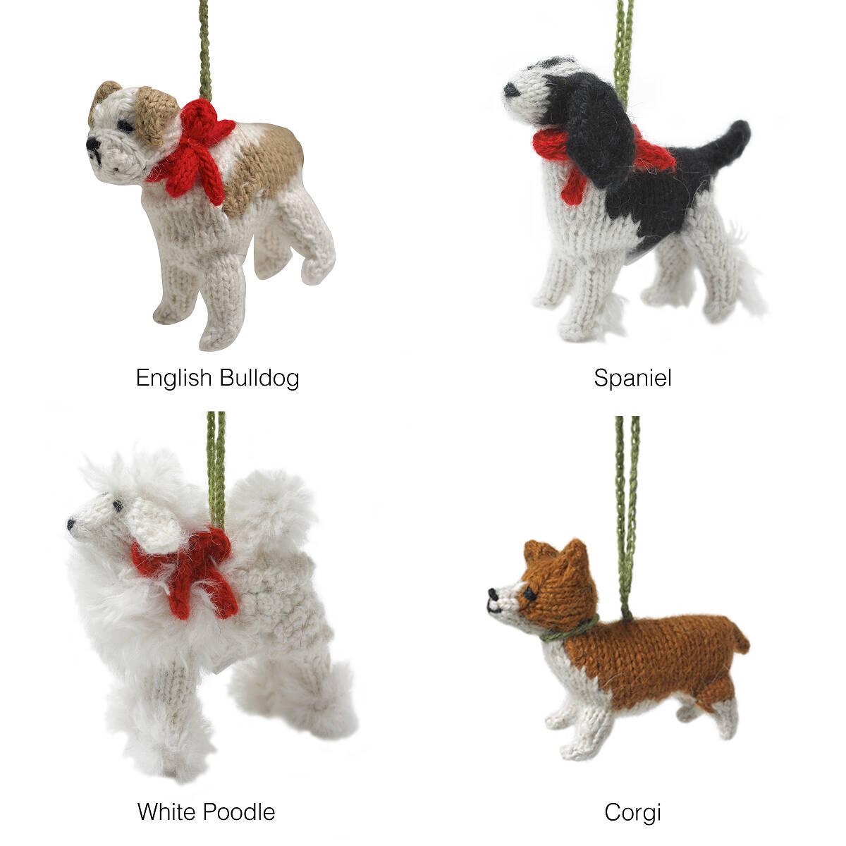hand knit dog ornaments puppy ornament handmade christmas