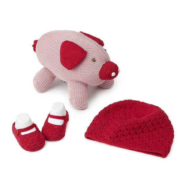 Baby Shower Basket - Toy, Hat, and Bootie Set 2