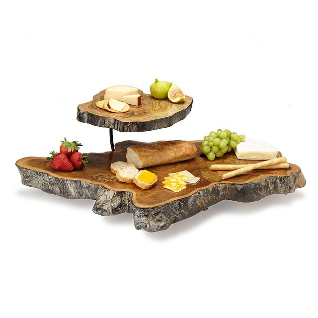 Unique Double Tiered Teak Root Serving Platter | serving tray, tiered  DF97