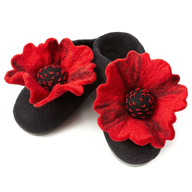 Felted Poppy Slippers