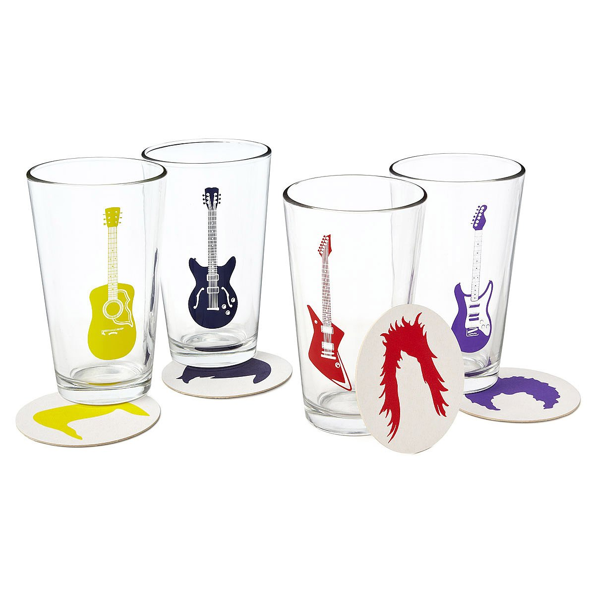 guitar glasses and coasters  rock glass music drink coasters  - guitar glasses and coasters  thumbnail